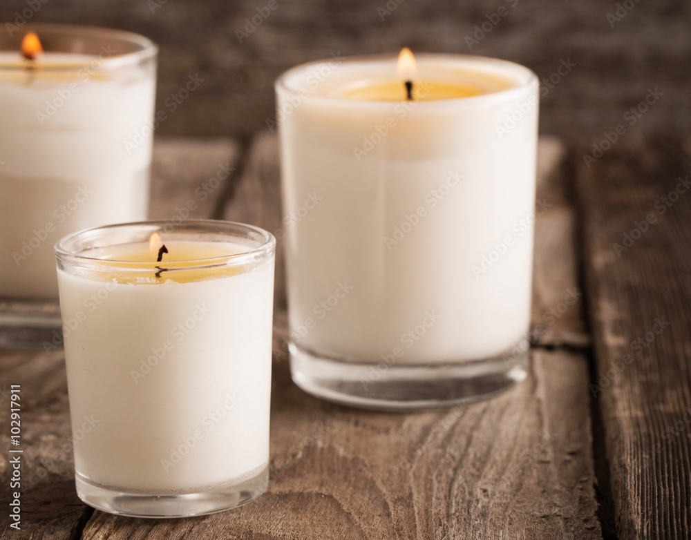 Fototapety, obrazy: scented candles on old wooden background