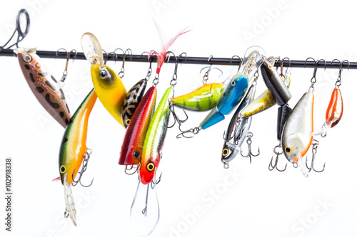 Printed kitchen splashbacks Fishing colored fishing bait wobblers be suspended on rod`s blank