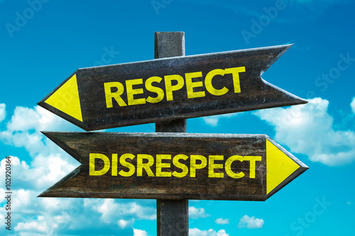 Fotografie, Tablou  Respect - Disrespect signpost with sky background