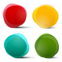 Abstract Vector Circle Red Orange Blue And Green Colorful Shapes Set Isolated On White Background