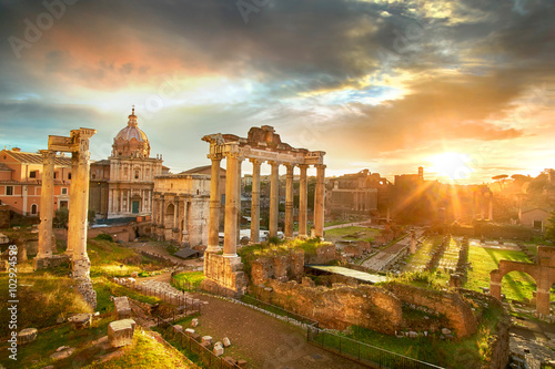 Roman Forum. Ruins of Roman Forum in Rome, Italy during sunrise. Poster