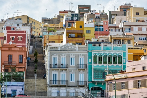 Colourful buildings in Las Palmas de Gran Canaria, Spain
