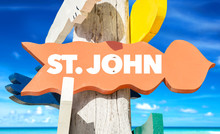 St John Welcome Sign With Beach