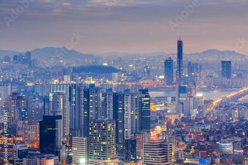 Photo sur Aluminium Seoul Seoul City and Yeouido at Night, South Korea.