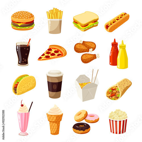 Set of cartoon fast food Poster