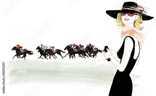 Printed kitchen splashbacks Art Studio Woman in a horse racecourse