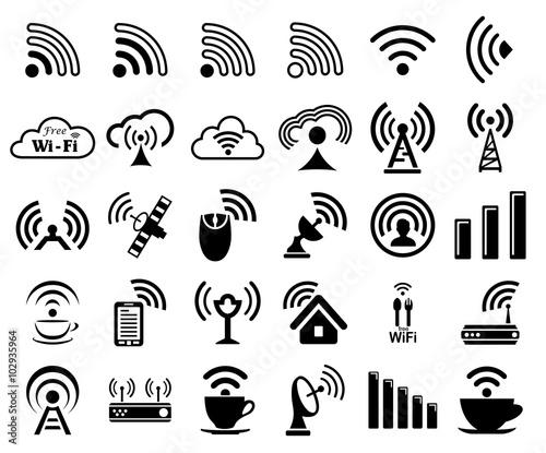 set of thirty wifi icons