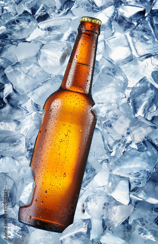 Cold bottle of beer in the ice cubes. Poster
