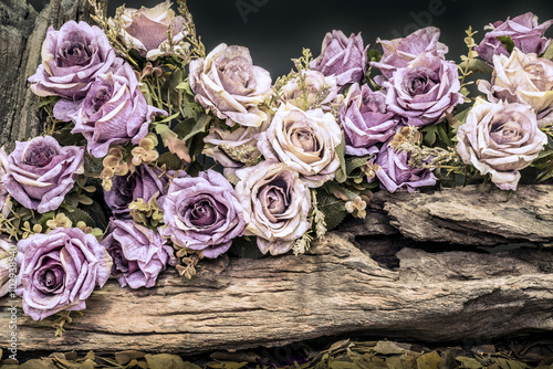 Fotografía  still life with purple roses and timber
