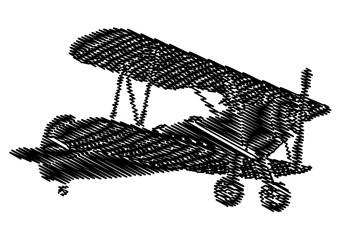 Panel Szklany Podświetlane Samoloty Avion vntage en graffiti en noir et blanc