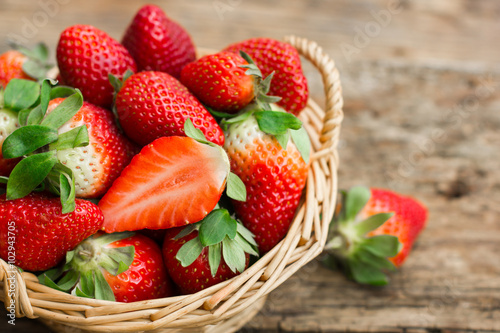 Strawberries in the basket Wallpaper Mural