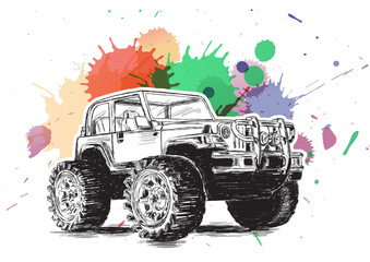 Panel Szklany Samochody 4x4 Sports Utility Vehicle SUV Grunge Vector Illustration