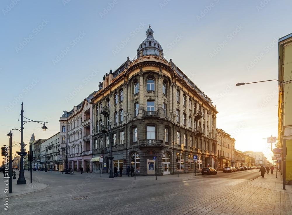 Fototapeta Architecture of Piotrkowska Street in Lodz