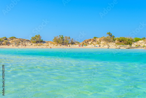 In de dag Groene koraal Elafonisi, one of the most famous beaches in the world, Crete, G