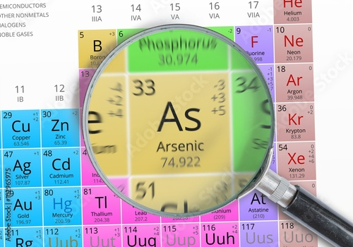 Photo Arsenic - Element of Mendeleev Periodic table magnified with magnifying glass