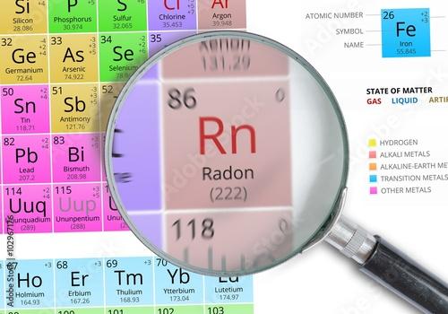 Radon - Element of Mendeleev Periodic table magnified with magnifying glass Tapéta, Fotótapéta