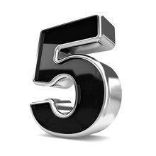 3d Silver And Black Metal Number 5 Five Isolated White Backgroun