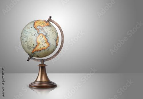 Fotografie, Obraz  old style globe on gray background