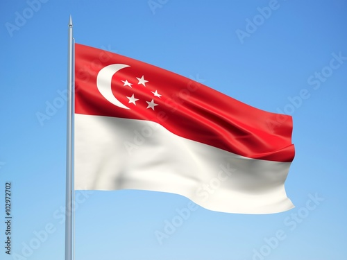 Photo  Singapore 3d flag floating in the wind with a blue sky background