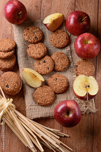 Fotografia, Obraz  biscotti ai cereali e mele fatti in casa
