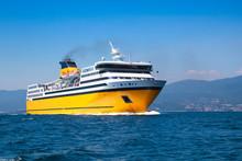 Big Yellow Passenger Ferry On The Mediterranean Sea