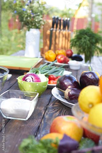 Keuken foto achterwand Picknick picnic summer vegetables
