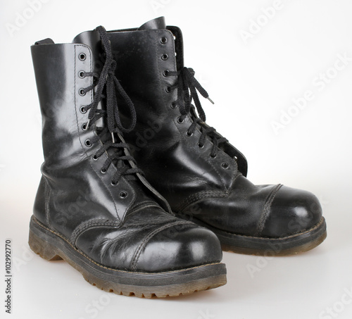 Old black leather boots Fototapet