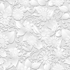 Volumetric seamless floral pattern background.