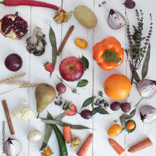 Fotografie, Obraz  bouquet colors hand fruits vegatables background bank