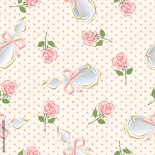 Cotton fabric Vector glamorous pattern of perfume bottles and roses.