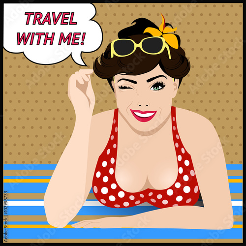 fototapeta na lodówkę Travel poster with pop art winking woman