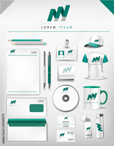 Abstract gray and green logo and corporate identity template abstract gray and green logo and corporate identity template realistic set of cups business card fbccfo Image collections