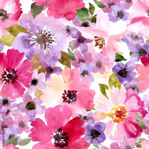 Photographie  Vector pattern with flowers and plants