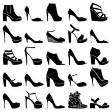 Set Of 25 Fashionable Shoes