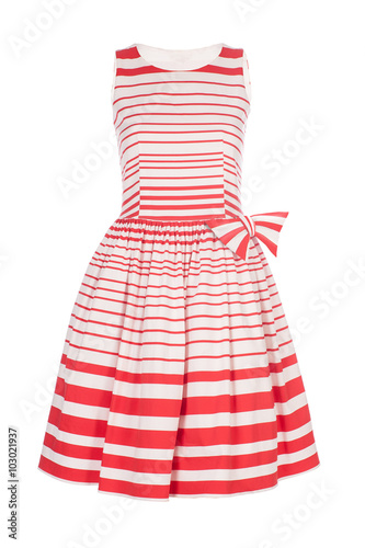 Fotografie, Obraz  White with red retro dress isolated on white background