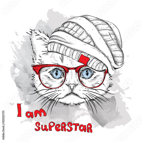 Hand Draw Cat In A Hat Vector Illustration Buy This Stock Vector