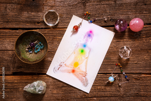 Photo  Chakras over a human body