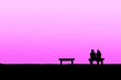 canvas print picture - The silhouette of couple with pink background, concept of world of love, valentine, falling in love