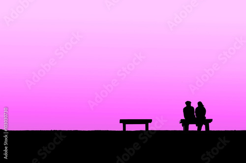 Printed kitchen splashbacks Purple The silhouette of couple with pink background, concept of world of love, valentine, falling in love