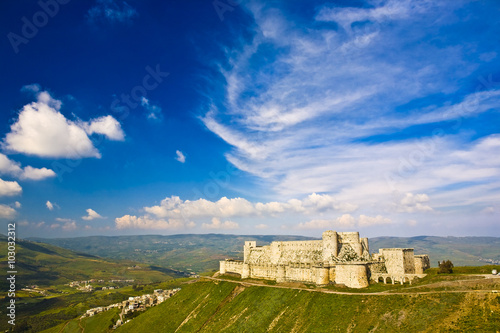 Foto auf Leinwand Mittlerer Osten Syria. Crac des Chevaliers (Qal'at Al Hosn) - the most famous medieval Crusader fortress in the world - general view