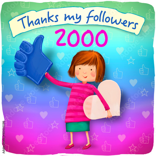 Poster thanks to my followers 2000 image for social networking Girl