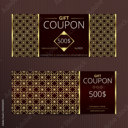 Gift Voucher With Elegant Noble Design Vector Template For Coupon