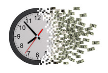Time Is Money. Clock Falling A...