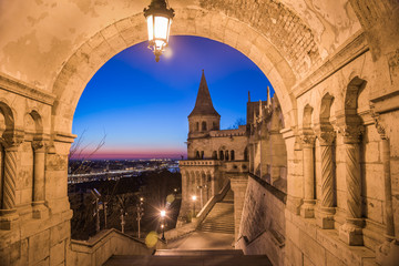 Fototapeta Schody North Gate of Fisherman's Bastion in Budapest, Hungary Illuminated at Dawn