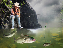 Girl Fishing Early Morning With Lot Of Big Fishes.