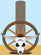 Flat Vector Steer Skull And Wagon Wheel Resting Against Fence Post In Desolate Landscape