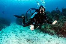 Female SCUBA Diver On A Reef