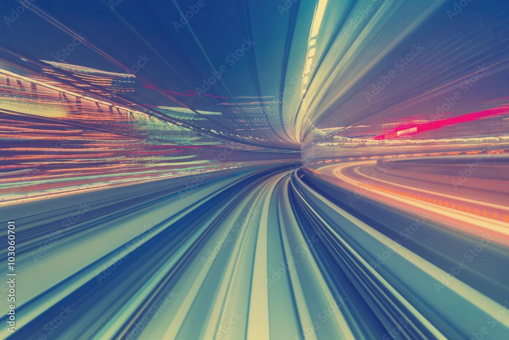 Fototapeta High speed technology concept via a Tokyo monorail