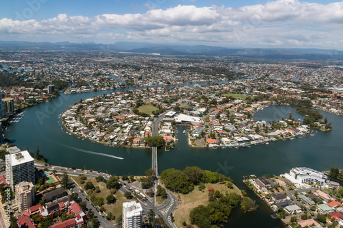 Valokuva  aerial view of suburb at Gold Coast, Queensland, Australia