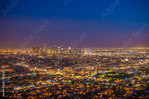 Poster Las Vegas downtown Los Angeles from Griffith Observatory at sunset